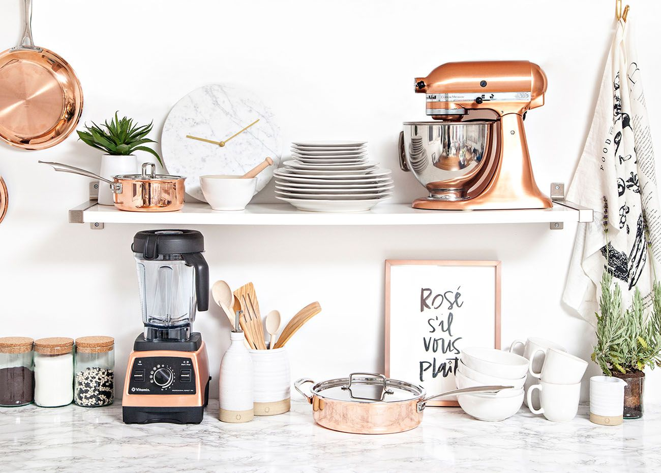 Design Your Perfect Wedding Registry With Zola Copper Rose Gold And Marble Kitchen