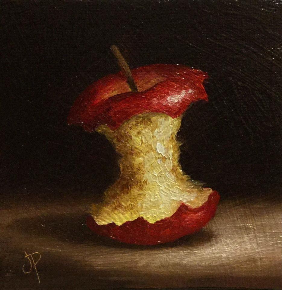 Apple Cores Are A Myth: Little Apple Core, J Palmer Original Oil Still Life Mini
