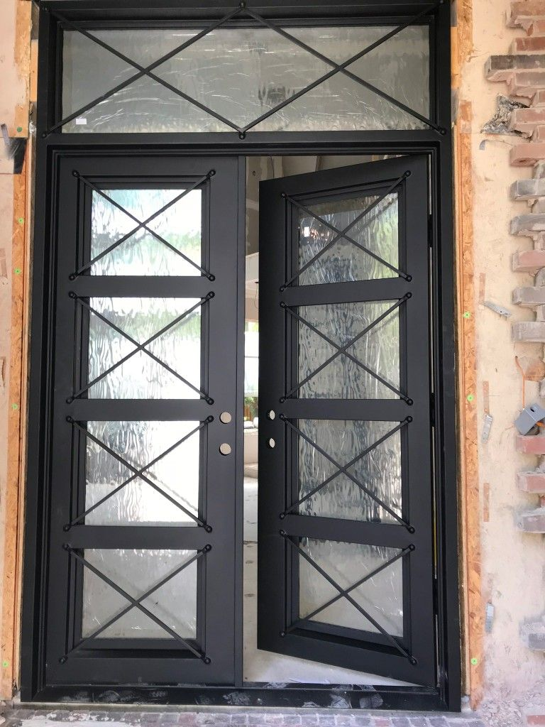 8ft Double Door With Transom 12 Gauge Steel Doors For 59 Per Sqft Steel Doors Iron Doors Double Doors