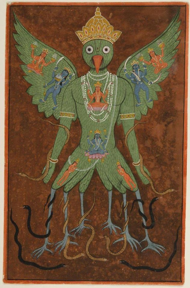 Tantric Painting of Garuda. Made in Gujarat, India, 19th