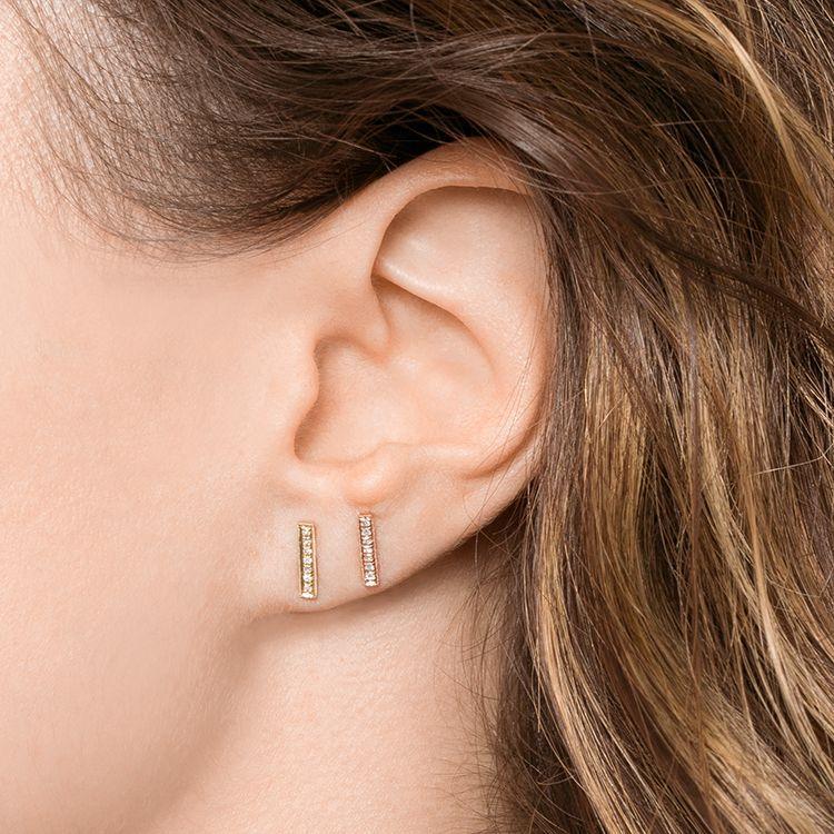 A minimalist staple stud, these rose gold diamond bar earrings are ...