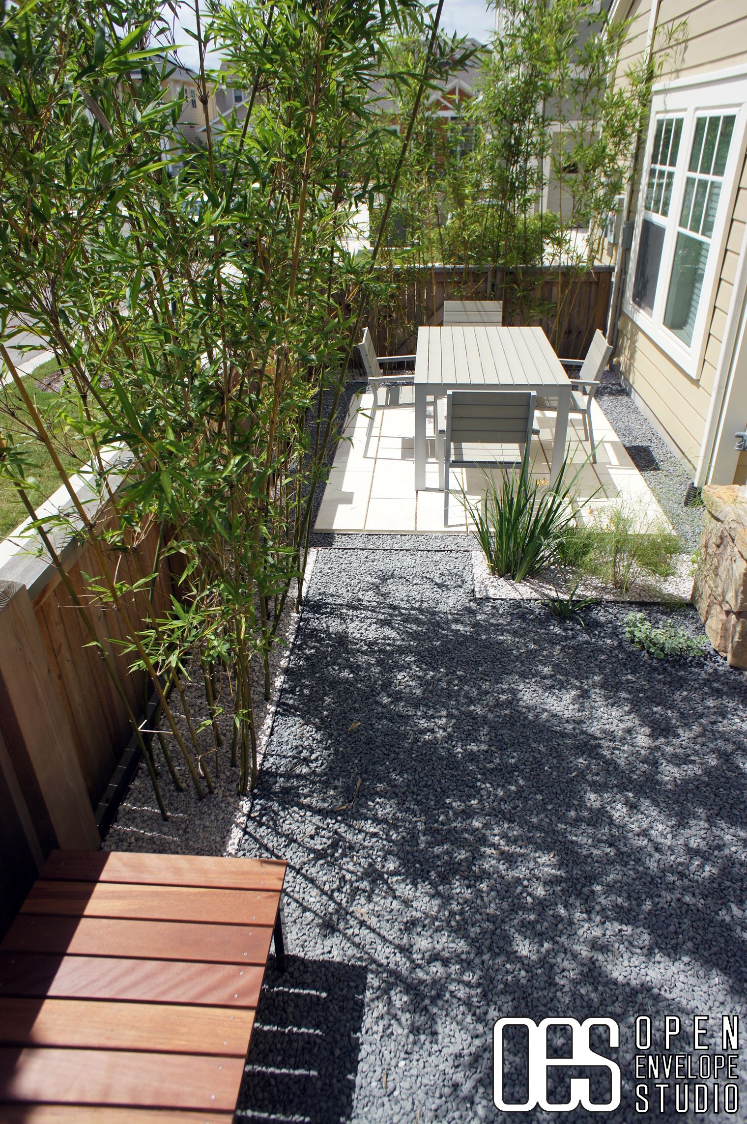 Oes Limestone Paver Patio Surrounded By Texas Basalt At
