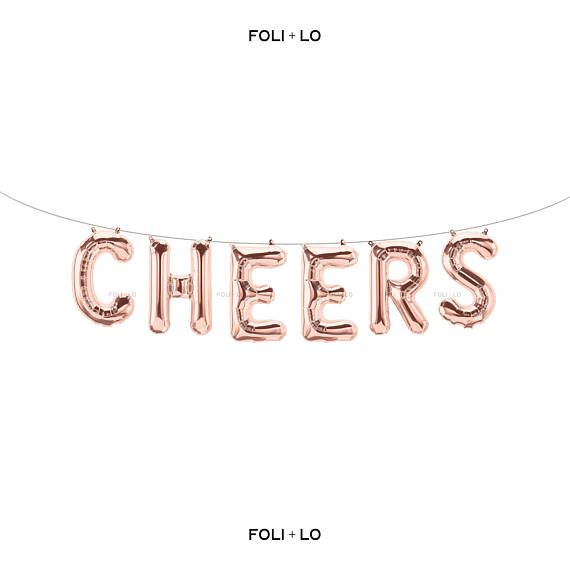 Cheers Rose Gold Letter Balloons Metallic Letter Balloons