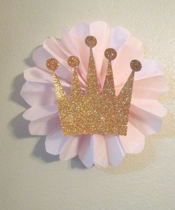 Items similar to Kit Set of 3 Glitter Crown Tiara Tissue Rosette Decoration Pink Princess Birthday Party on Etsy
