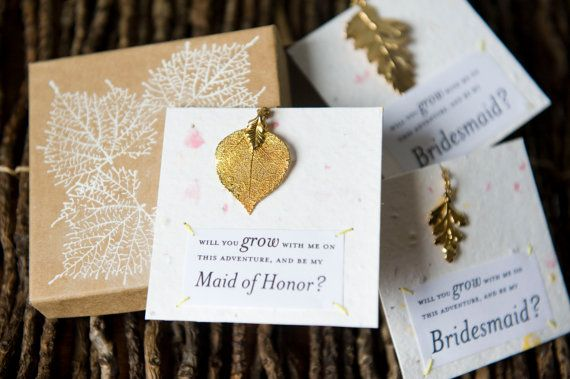 Will You Be My Bridesmaid Gold Tone Aspen Leaf Necklace by ShopHazelandIvy | Wildflower Seed Paper Card