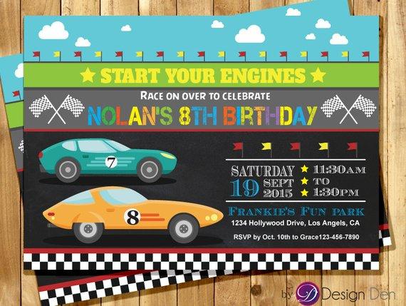 Race Car Birthday Invitation, Go Kart Birthday Invitation, Race Car