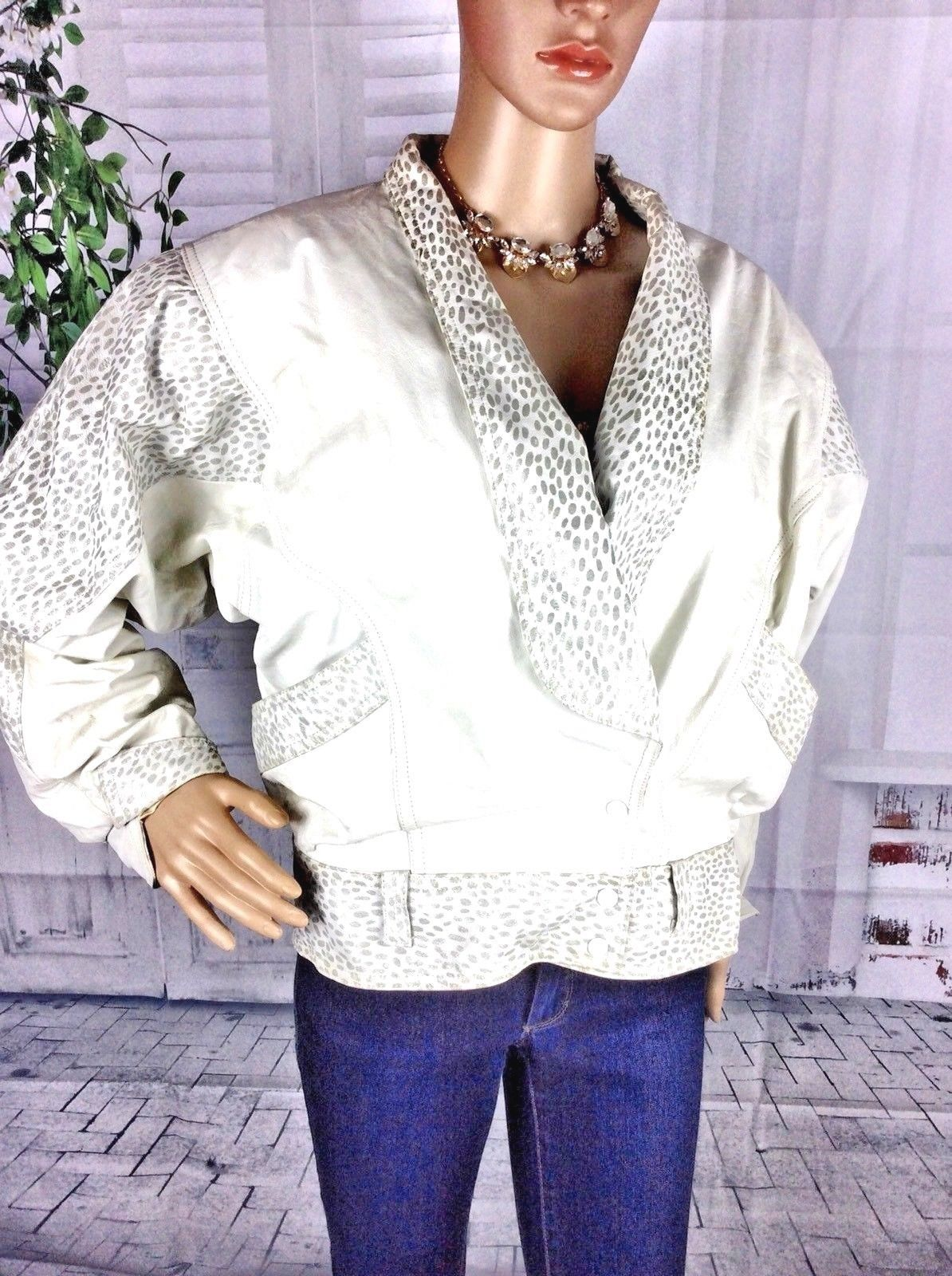 Vtg Women S Pelle Cuir Leather Ivory White Gray Animal Print Crop Bomber Snap Jacket Medium 8 10 By Stylishiddentreasure On Ets Fashion Women Trending Outfits [ 1600 x 1194 Pixel ]