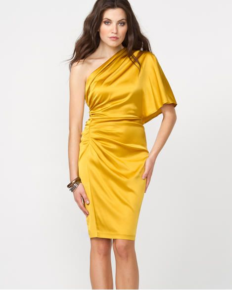 Le Château: Silk One Shoulder Dress Love this one in teal | Fashion ...