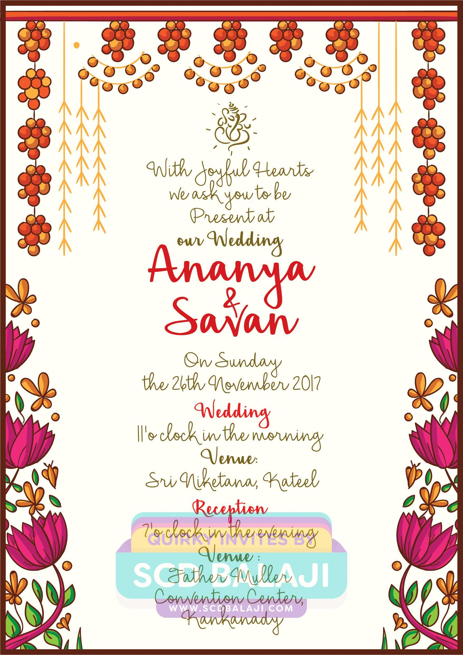 This Creative Mangalore Wedding Invitation Features The Illustration Of A Wedding Invitation Design Indian Wedding Invitation Cards Indian Wedding Invitations