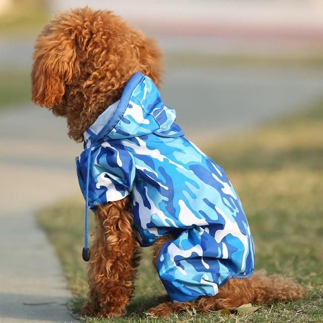 f5dcf7bc3223a Blue Camouflage Fashion Waterproof Raincoat for Small Dogs #dogs #raincoat  #rainydays