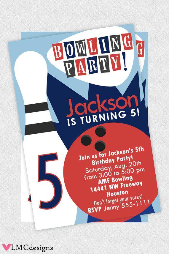 Boys Bowling Invitation Printable | Bowling party invitations ...