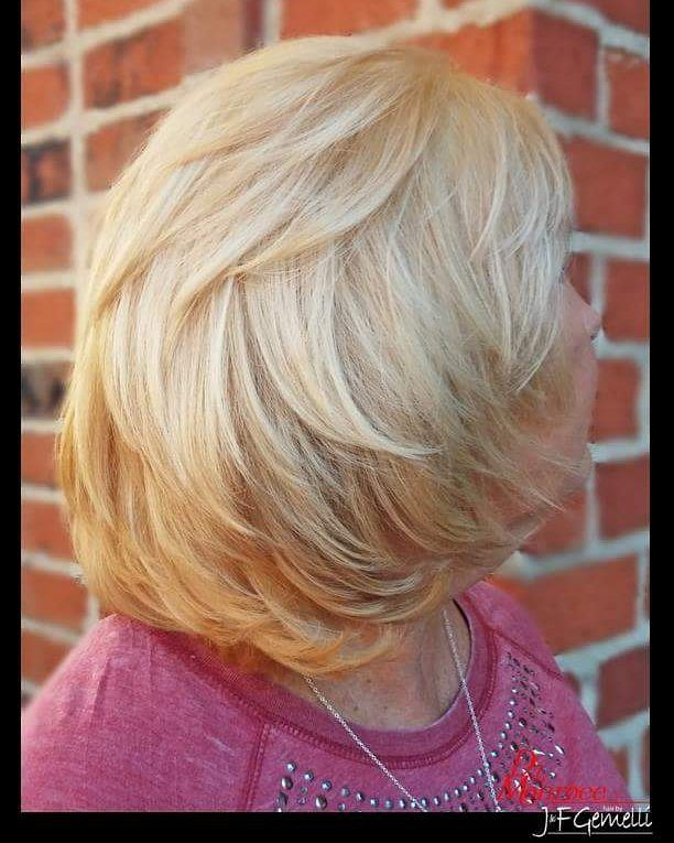"""Beautiful Bob hairstyle... simply timeless & ageless and a absolutely perfect style for my fave client since """"day one""""  #bob #cutandcolor #delamonroee #caryhairstylist #beautifulhair #jfgemellicary #beautifulpeople #oribehair #randco #wellalife #timelesshair #blondebob #jfgemellilochmere"""