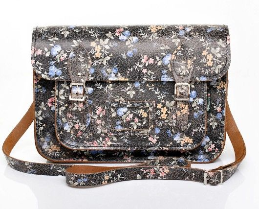 Black with Small Floral Pattern Leather Satchel