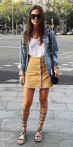 A Button-Down Skirt, a White Top, a Jean Jacket, and Gladiator Sandals