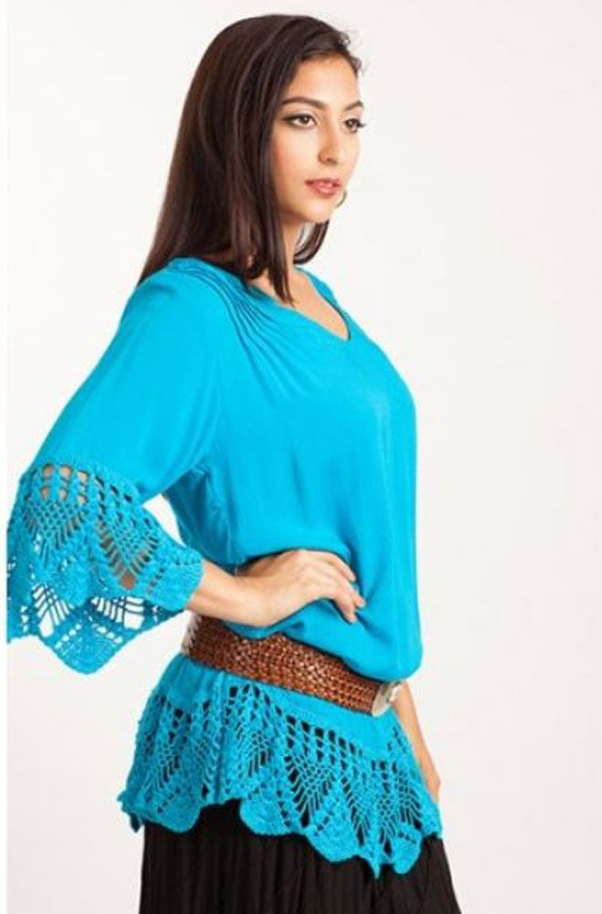 a307d4c3e5ca3 Turquoise Tunic Top with Crotchet (10 days to ship).  T502