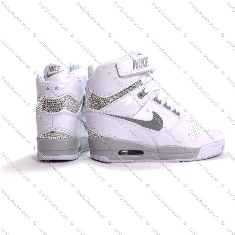 Crystal Nike Air Revolution Sky Hi In White & Grey With Swarovski Or  Diamante Crystals