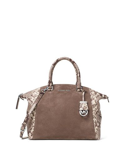 7923b17da785 MICHAEL MICHAEL KORS Michael Michael Kors Riley Large Python-Embossed  Satchel Bag, Dark Dune. #michaelmichaelkors #bags #polyester #leather  #lining #satchel ...