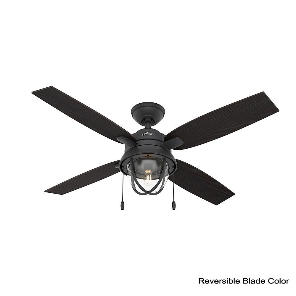 Hunter Barnes Bay 52 In Led Indoor Outdoor Natural Iron Ceiling Fan With Light Kit 59560 The Home Depot Ceiling Fan With Light Fan Light Black Ceiling Fan