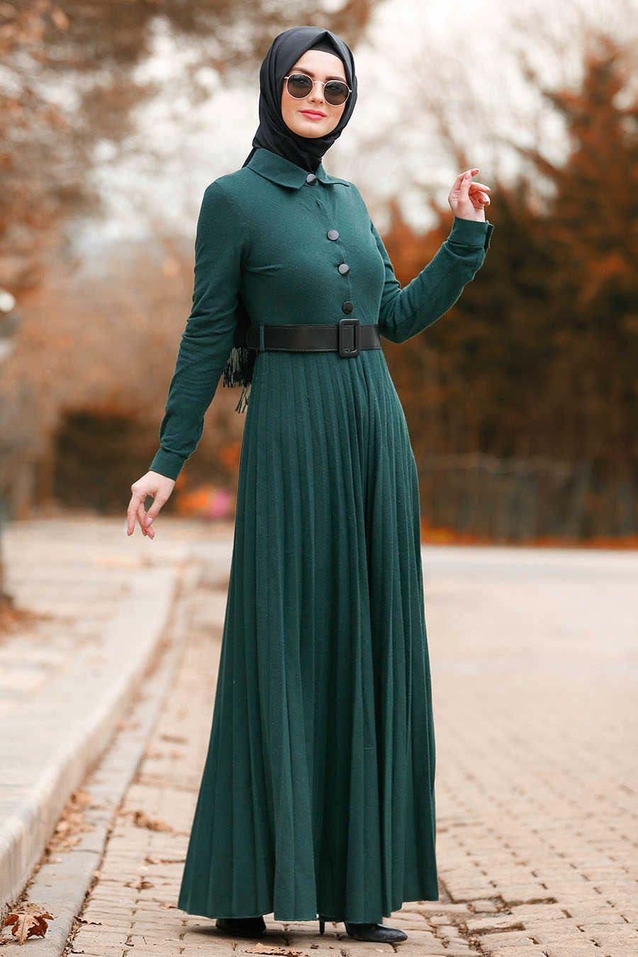 نيفا ستايل فستان أخضر حجاب 8396y Kiyafet Elbise Siyah
