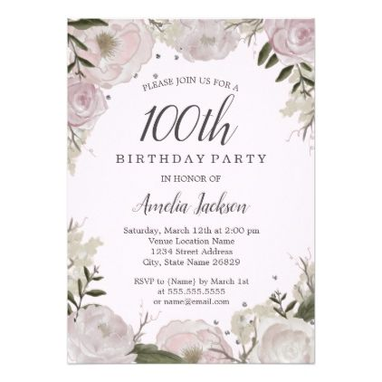 sparkle pink floral 100th birthday party card floral invitation