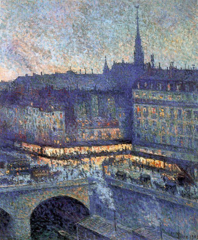 """Neo Impressionism Artists: Maximilien Luce, """"La Samaritaine La Nuit"""" - Paris"""