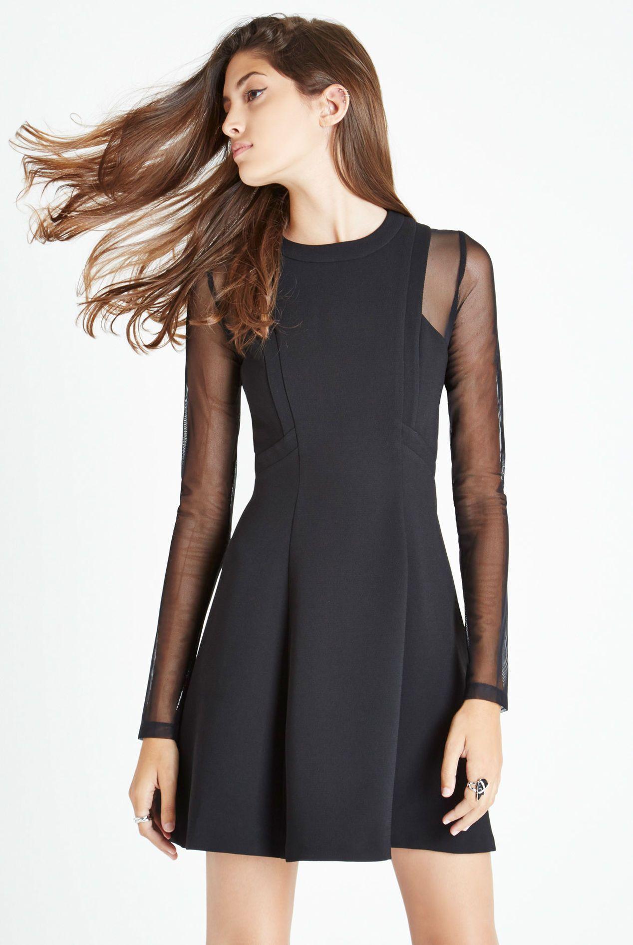 Long Sheer Sleeves Dress With Bands Sheer Sleeve Dress Long Sleeve Mesh Dress Night Out Dress [ 1891 x 1268 Pixel ]