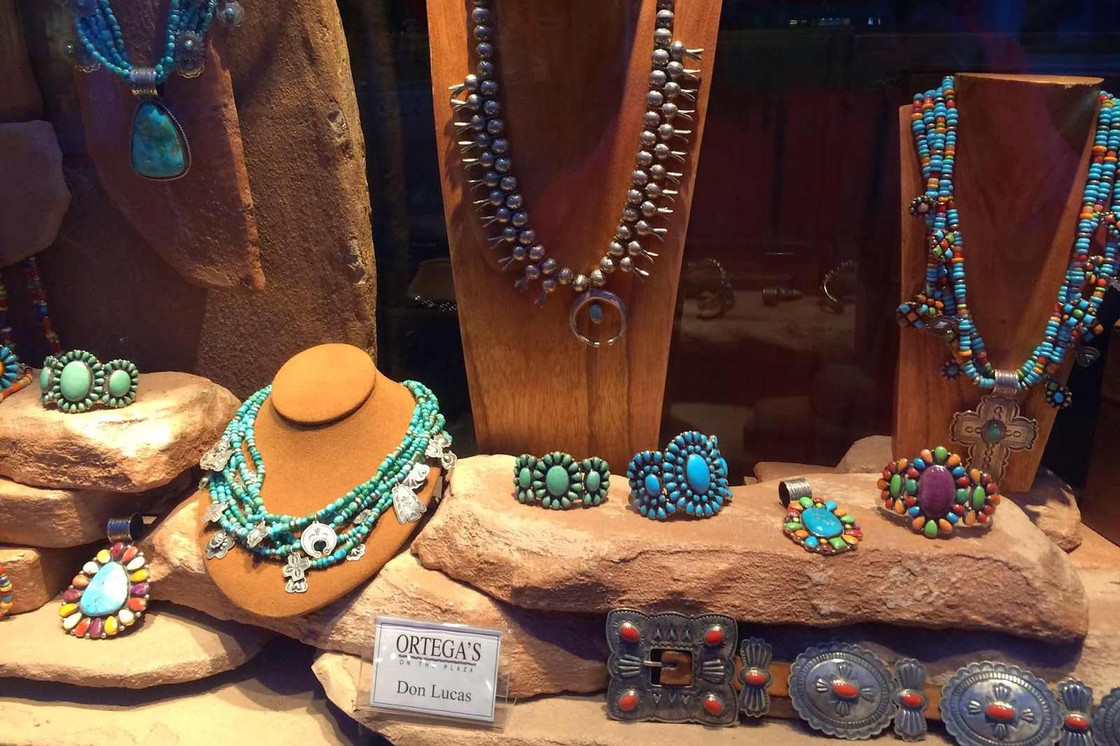 Wonderful turquoise jewelry at Ortegas in Santa Fe. Particularly love the multi color bracelet to the right;       SewWest: Fiberly Train to Santa Fe, Morning Walks