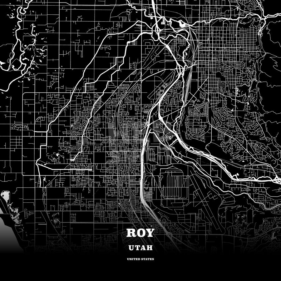 Black Map Poster Template Of Roy Utah Usa Maps Vector Downloads