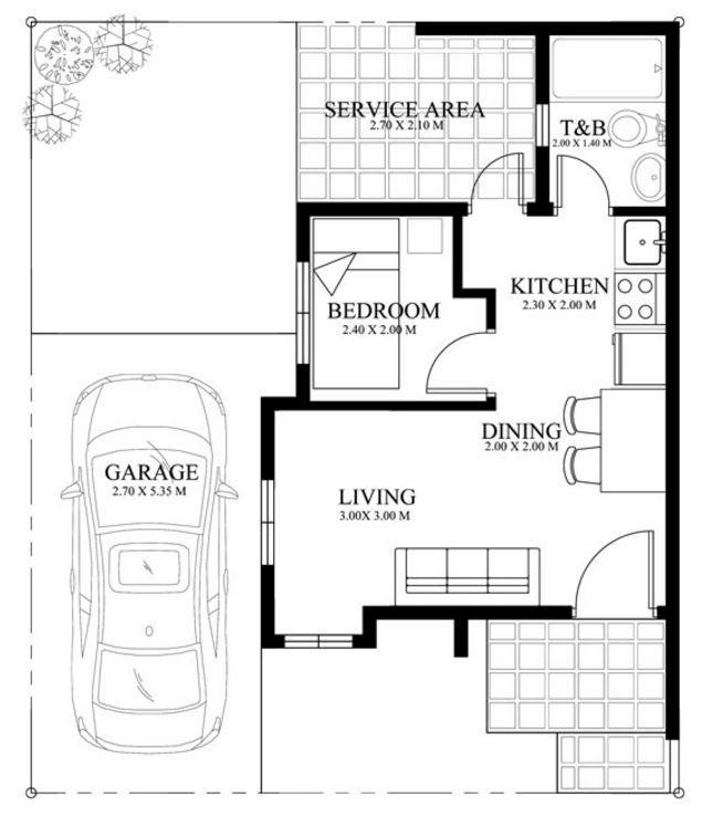 Planos Y Medidas De Casa Pequena De Un Cuarto Sala Cocina Y