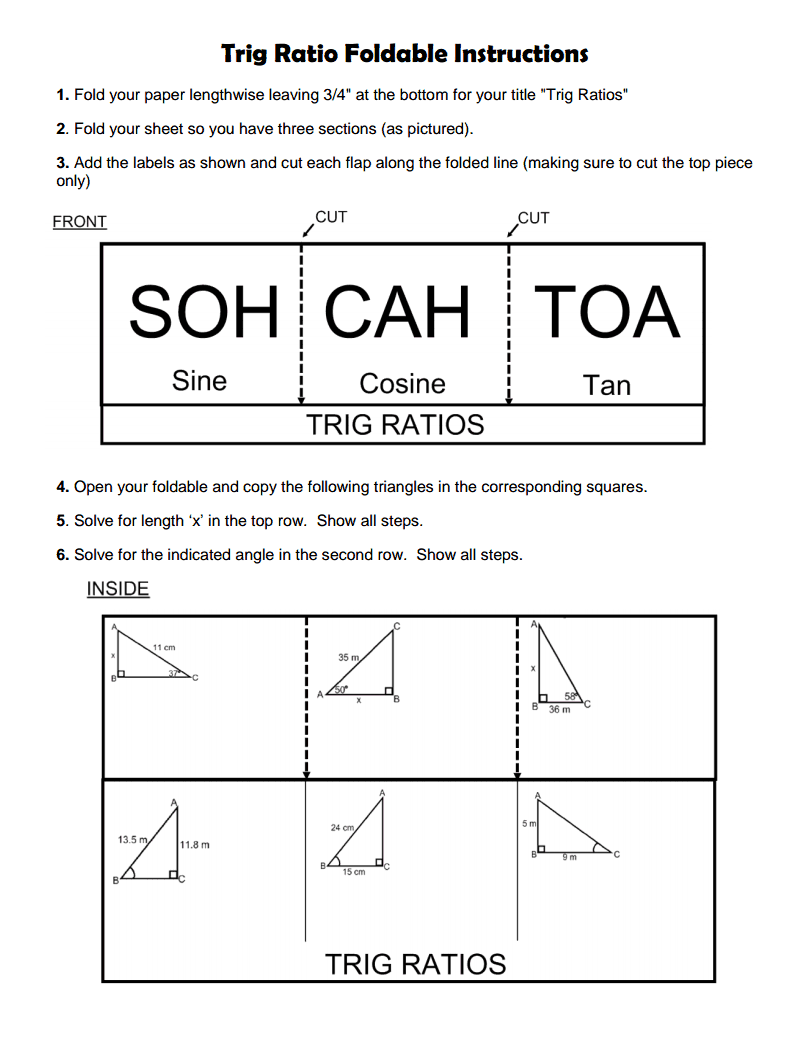 Trig Ratio Foldable Instructions Pdf Google Drive