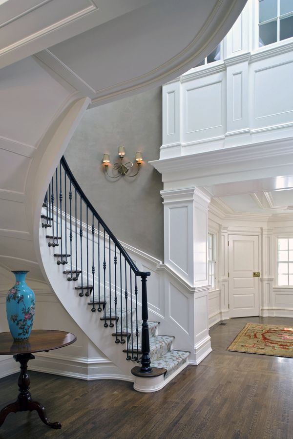 Customized Curved Floating Stair With Paneling Detail