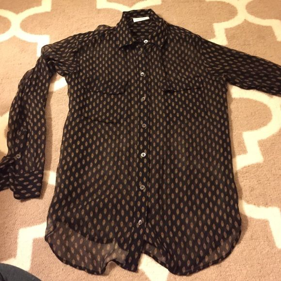 Equipment sheer top Sheer equipment top. Size XS. Sheer black with pattern. Minimal wear! Was too small! No rips or stains! Originally $248 Equipment Tops