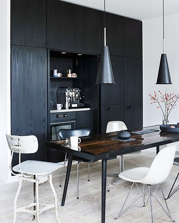 Black Kitchen Dark Dining Interiors Kokopelia