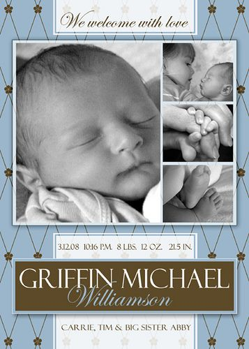 FREE Photoshop Template - Boy Birth Announcement Free Actions