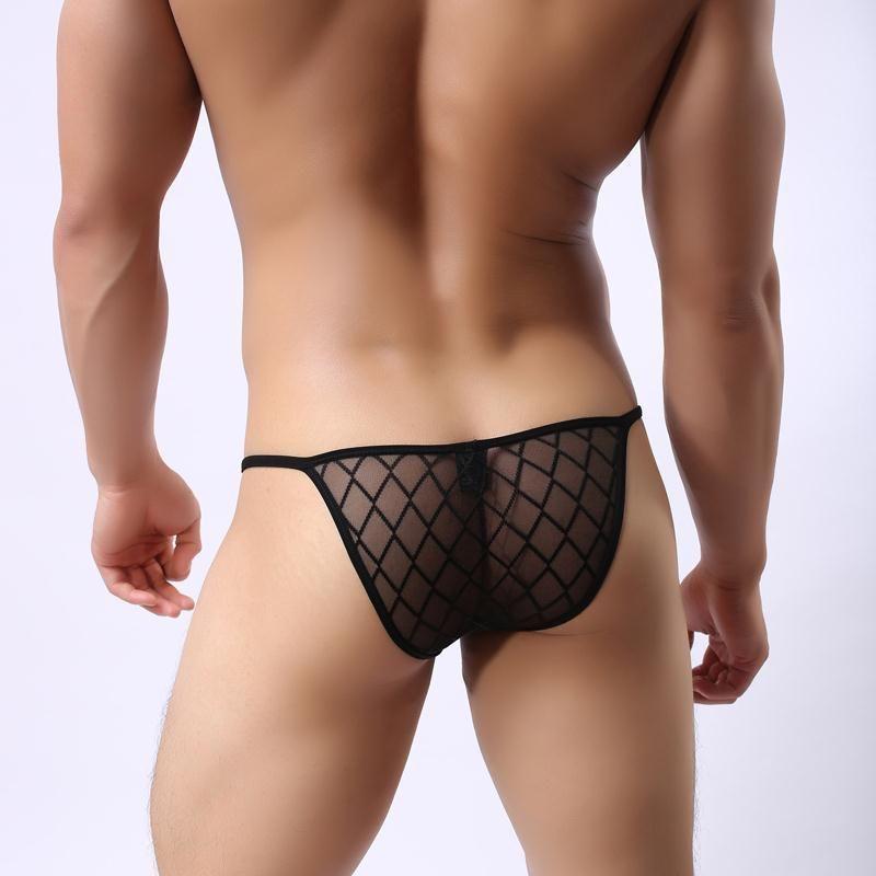 Men/'s Underwear Grid Mesh Briefs Panties Trunks Breathable Thongs G-string M-2XL