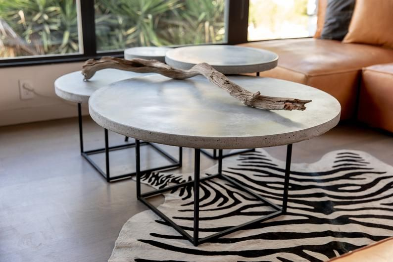 Concrete Coffee Table Nesting Tables Round Coffee Tables Concrete