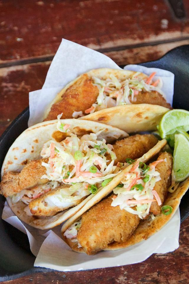 Spicy Fish Street Tacos with Sriracha Slaw -