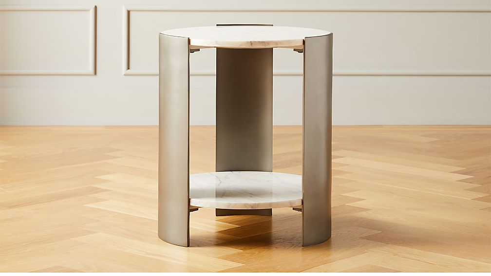 Beret marble 2tier side table modern side table