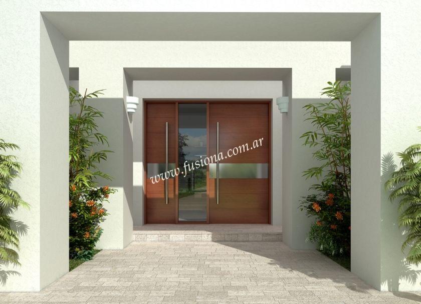 D001 puerta y media de madera pa o fijo con acero for Ingreso casas modernas
