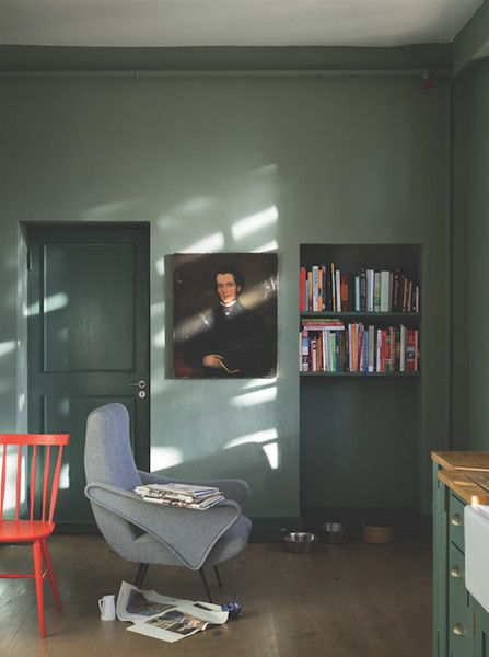 Love the color and the lighter walls/darker doors