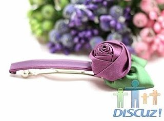 ribbon rose hair-clip