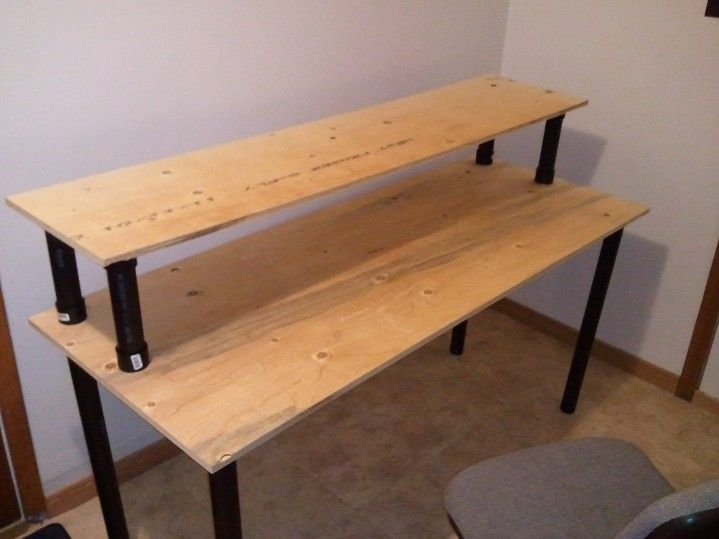 Easy Plywood Projects | Lights on/off shots of the desk in use in its
