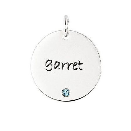 Posh Mommy Jewelry EXTRA LARGE Disc Charm 1 Disc Engravable Pendant with Stone