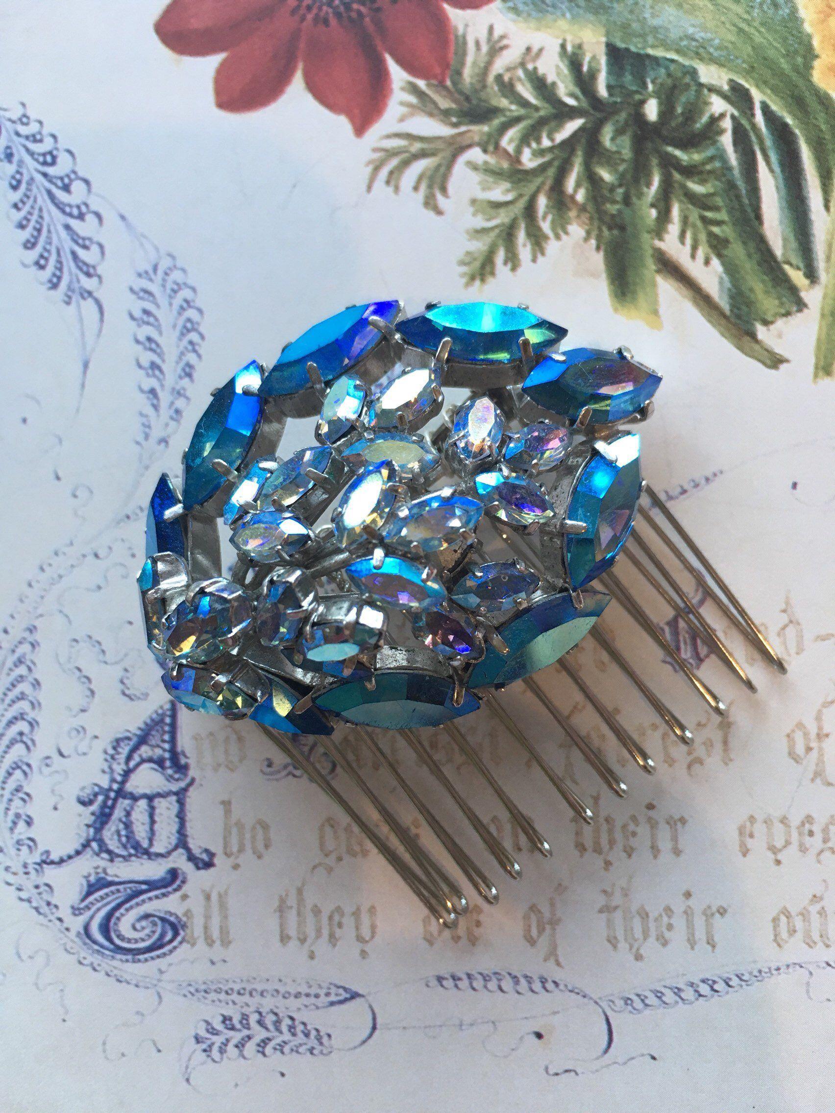 vintage blue diamante hair comb- vintage bridal, bridesmaid