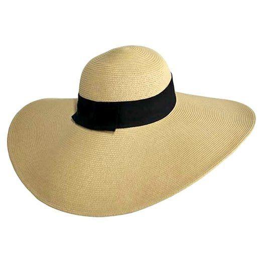 Amazon.com  Flat Tan Wide Brim Sun Hat With Black Ribbon Trim  Clothing   36.99 8c35f8d7275