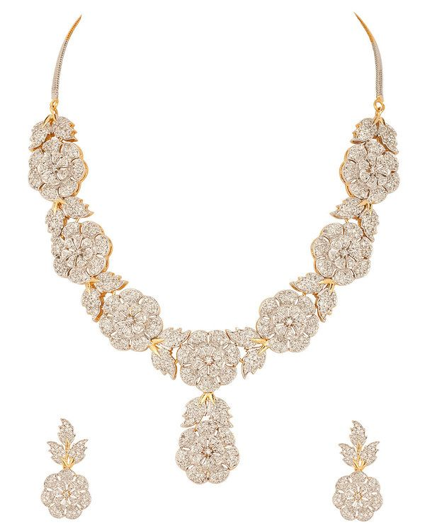 Gold Plated Cz Necklace Set With Attractive Floral Theme #Necklace