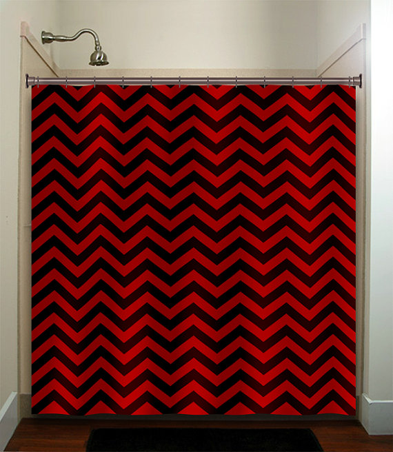 Classic Black Red Chevron Shower Curtain