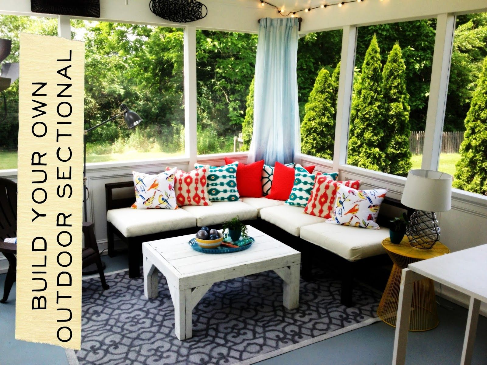 How to build an outdoor sectional knock it off east for Creative patio furniture