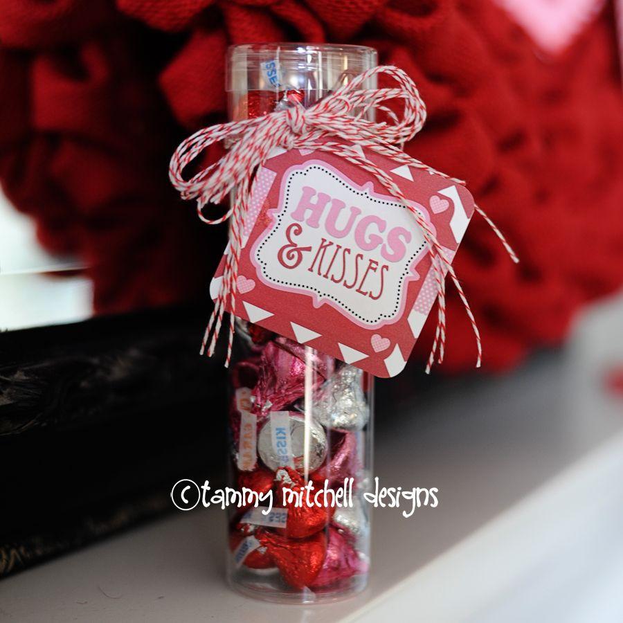 FREEBIE Hugs and Kisses Valentine Free Printable TagCard