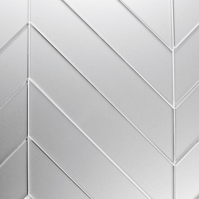 Reflections Matte 2 X 12 Glass Chevron Mosaic Tile Mirror Wall Tiles Wall Tiles Glass Mirror